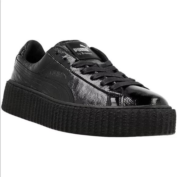 81f496c28ef Puma Shoes | Fenty Rihanna Creeper Wrinkled Patent Black | Poshmark